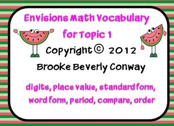Envisions Grade 3 Topic 1 Vocabulary
