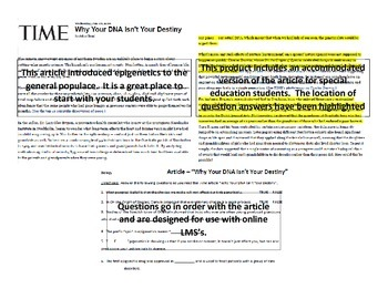 """Epigenetics Reading Assignment - """"Why Your DNA Isn't Your"""