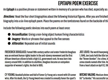 Epitaph Biography Poems
