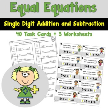 Equal Equations using Single Digit Addition and Subtractio
