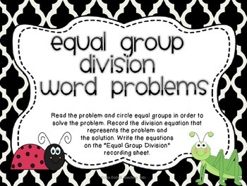 Equal Groups Division Word Problems {Bug Themed}