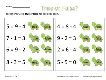 Equal, Not Equal (Subtraction)