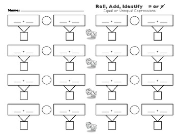 Equal or Unequal Expressions Roll and Add Game Board