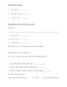 Equality, Commutative, and Associative Property Practice