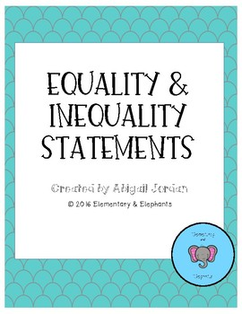 Equality Statement Worksheets : Addition and Subtraction