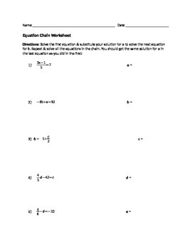 Equation Chain Worksheet