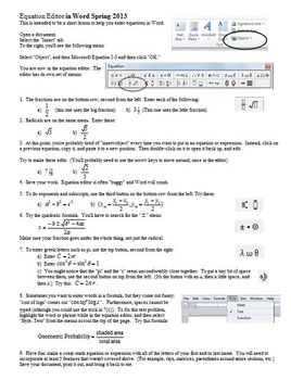 Equation Editor in Word Spring 2013