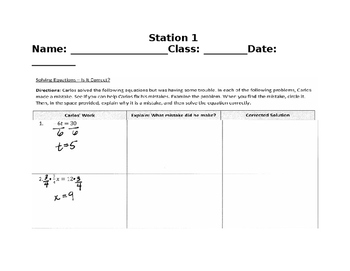 Equation Error Analysis - Stations