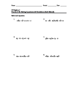Equations 12: Variables on Both Sides #2 (HW)