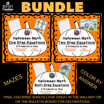 Halloween Fall Equations Maze &  Color by Number Coloring