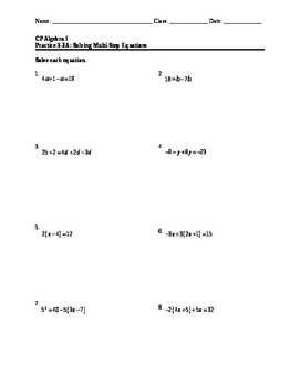Equations 7: Multi-Step Equations (HW)