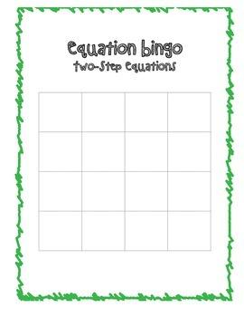 Equations Bingo Packet