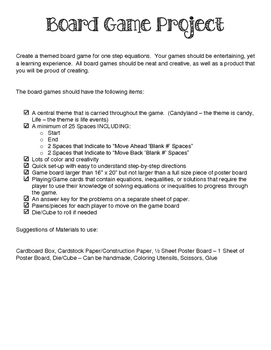 Equations & Inequalities Board Game Project  & Rubric