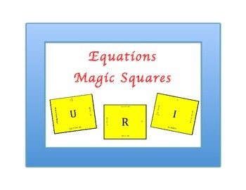 Equations Magic Squares 7EE4