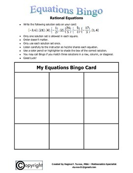 Equations: Rational Equations Bingo
