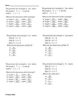Equations - Rectangles and Triangles (Quiz)