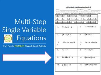Equations - Solving Multi-Step Equations Puzzle 2 Differentiated