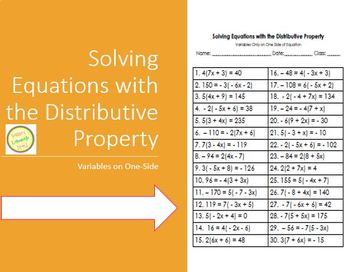 Equations Worksheet - Solving Equations with the Distribut
