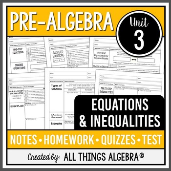 Equations and Inequalities (Pre-Algebra - Unit 3)