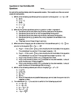 Equations in Two Variables AIR EOC Questions 2