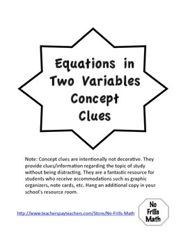 Equations in Two Variables Concept Clues Bundle