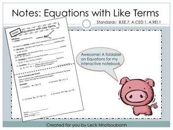Equations with Combining Like Terms Editable Foldable for