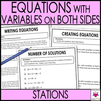 Equations with Variables on Both Sides Middle School Math
