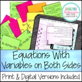 Equations with Variables on Both Sides Word Problem Matchi