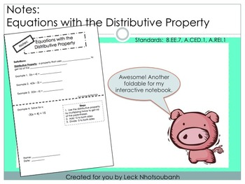 Equations with the Distributive Property Foldable for Inte