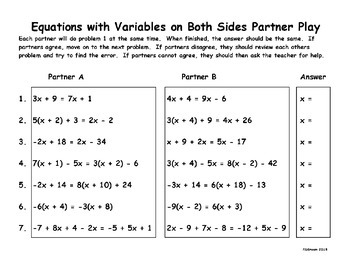 Equations with variables on both sides partner play