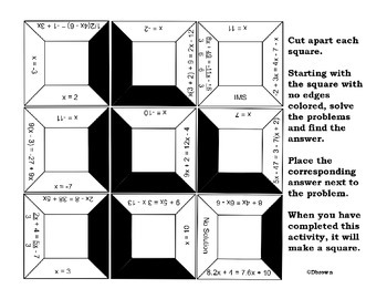 Equations with variables on both sides puzzle