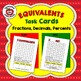 EQUIVALENCY FLASH CARDS, TASK CARDS:  FRACTIONS, DECIMALS,