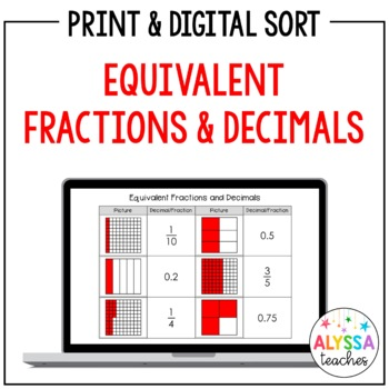 Equivalent Decimals and Fractions Sorting Cards