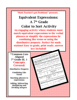 Equivalent Expressions: A Color to Sort Activity