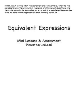 Grade 6: Equivalent Expressions Mini Unit