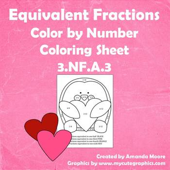 Equivalent Fraction Coloring Sheet- Color by Fraction! 3.NF.A.3