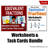 Equivalent Fractions Task Cards and Worksheets, Coloring F