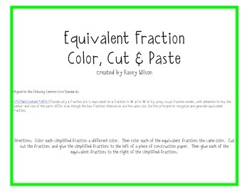 Equivalent Fractions Color, Cut & Paste Common Core Aligned