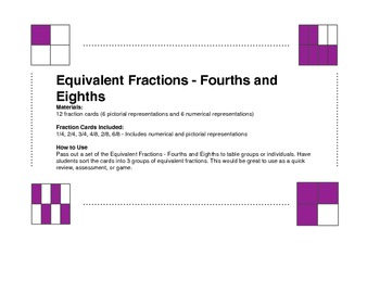 Equivalent Fractions - Fourths and Eighths