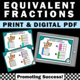 Equivalent Fractions Visual Models Task Cards 3rd Grade Ma