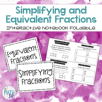 Equivalent Fractions Notebook Foldable