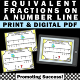 Equivalent Fractions on a Number Line 3rd Grade Math Task