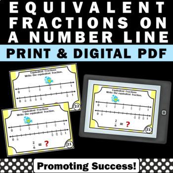 Equivalent Fractions on a Number Line Task Cards 3rd Grade