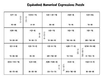 Equivalent Numerical Expressions Puzzle