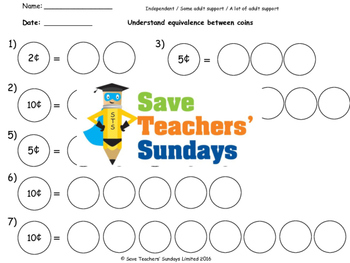 Equivalent coins worksheets (3 levels of difficulty)