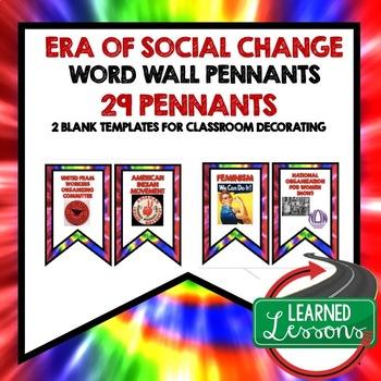 Era of Social Change Ford, Nixon, Carter Word Wall Pennants