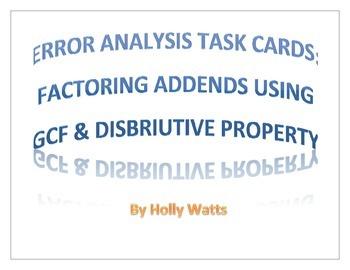 Error Analysis Task: Using GCF & Distributive Property To
