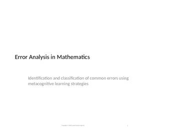 Error Analysis using Metacognition