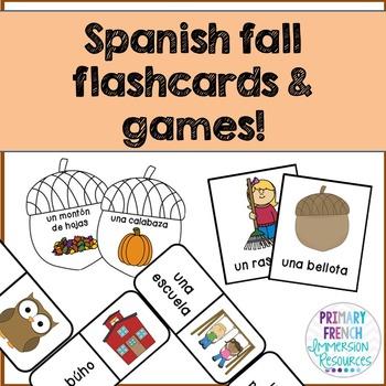 ¡Es otoño! - Spanish fall flashcards, bug in a rug, and do