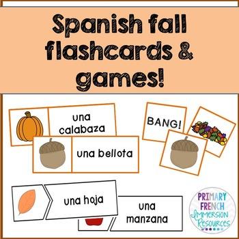 """¡Es otoño! - Spanish fall word wall cards, """"bang"""", and mat"""